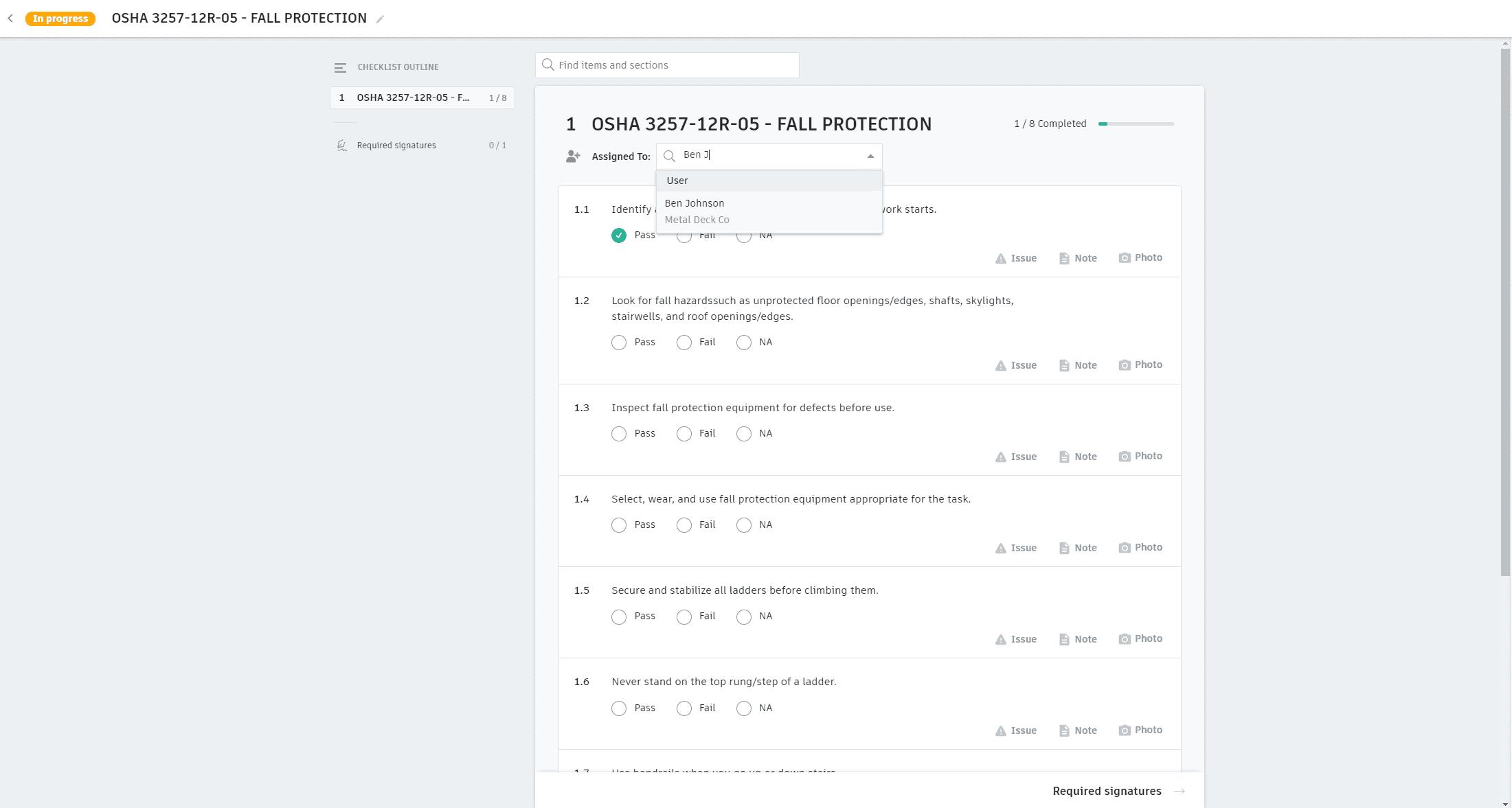 Attribution des listes de contrôle
